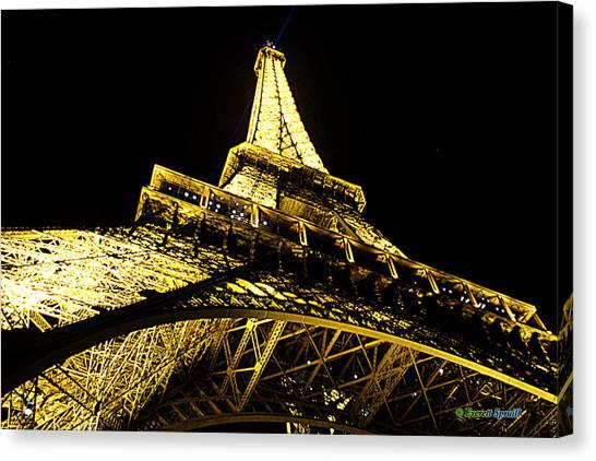 Frank Stella Canvas Print - Tour Eiffel - La Nuit Par Le Bas by Everett Spruill