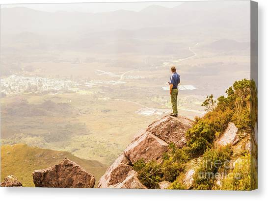 Hiking Canvas Print - Tourist On The Tip Of Western Tasmania by Jorgo Photography - Wall Art Gallery