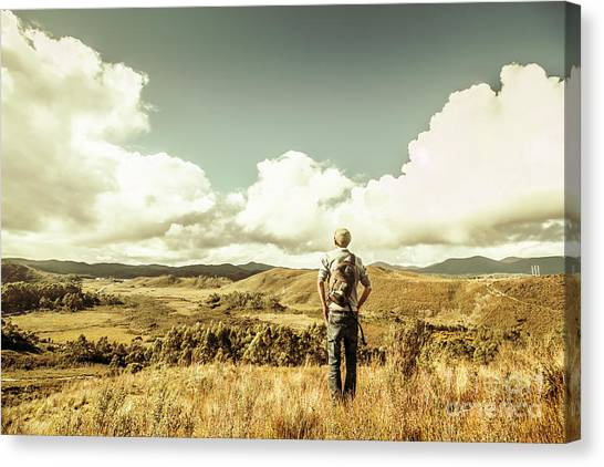 Backpacks Canvas Print - Tourist With Backpack Looking Afar On Mountains by Jorgo Photography - Wall Art Gallery