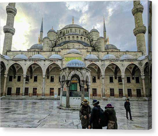 Tourists And The Blue Mosque Canvas Print