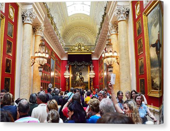 State Hermitage Canvas Print - Tourists At The Hermitage Museum by Catherine Sherman