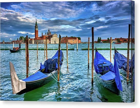 Gondolas And San Giorgio Di Maggiore In Venice, Italy Canvas Print