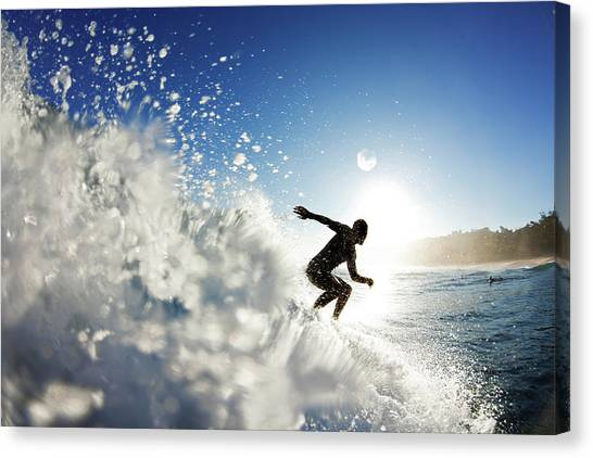 Surfing Canvas Print - Towards The Light by Sean Davey