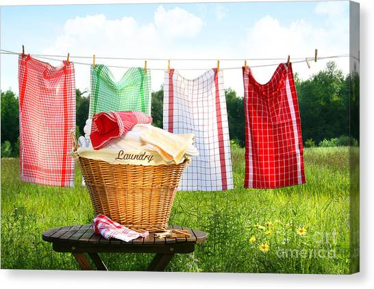 Towels Drying On The Clothesline Canvas Print