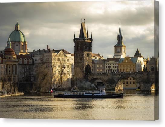 Tower And Churches Adjacent To Charles Bridge Canvas Print by Marek Boguszak