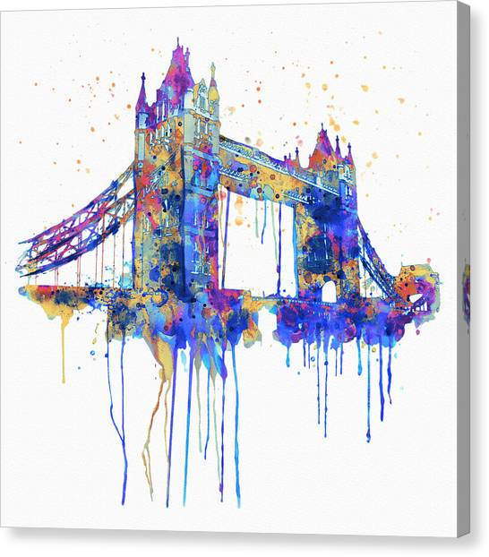 Tower Bridge London Canvas Print - Tower Bridge Watercolor by Marian Voicu
