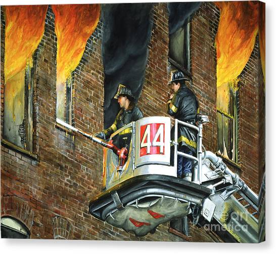 Firefighters Canvas Print - Tower Ladder 44-south Bronx by Paul Walsh