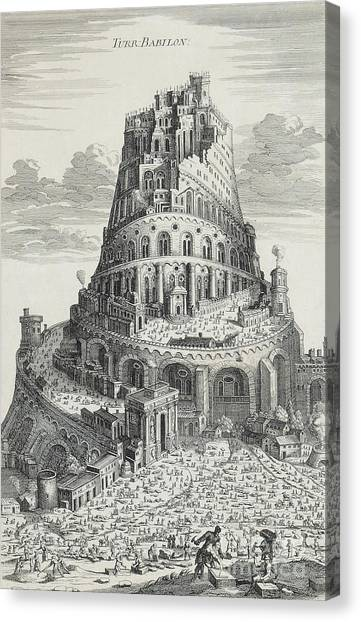 Old Canvas Print - Tower Of Babylon by Pierre Fourdrinier