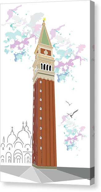 Tower Of Campanile In Venice Canvas Print