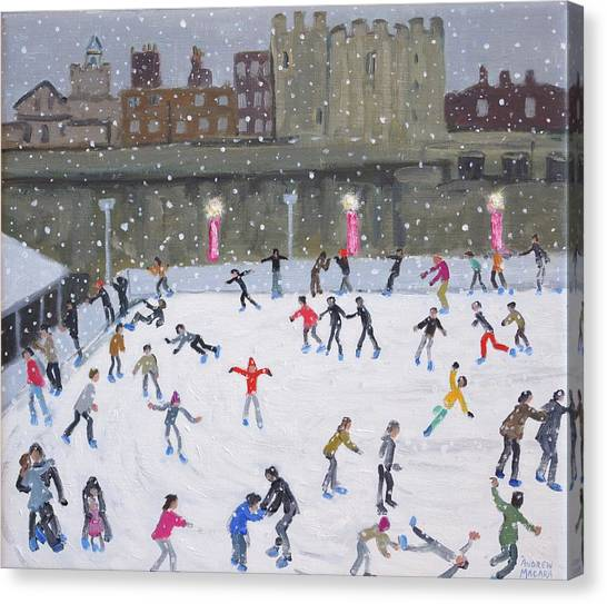 Figure Skating Canvas Print - Tower Of London Ice Rink by Andrew Macara