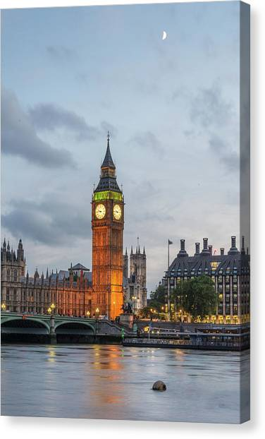 Tower Of London In The Moonlight Canvas Print