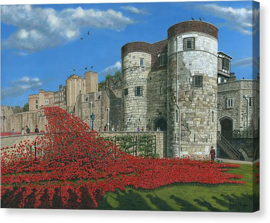 Tower Of London Canvas Print - Tower Of London Poppies - Blood Swept Lands And Seas Of Red  by Richard Harpum