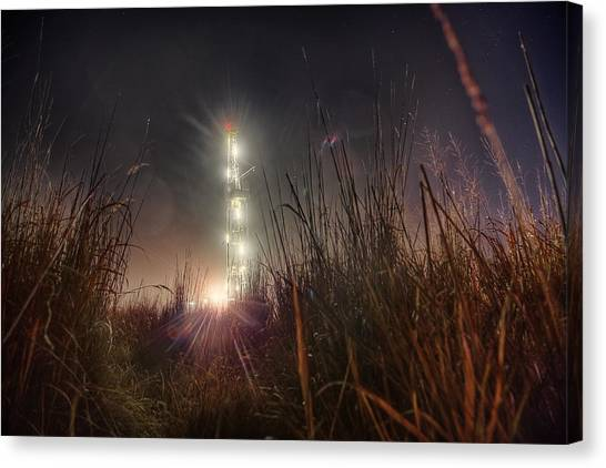 Oil Rigs Canvas Print - Towering Oil by Thomas Zimmerman