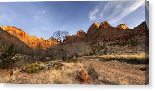 Mountain Cliffs Canvas Print - Towers Of The Virgin by Chad Dutson