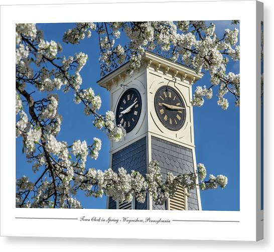 Town Clock In Spring Canvas Print