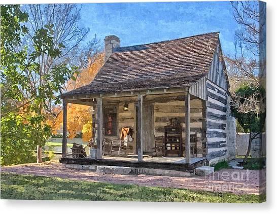 Town Creek Log Cabin In Fall Canvas Print