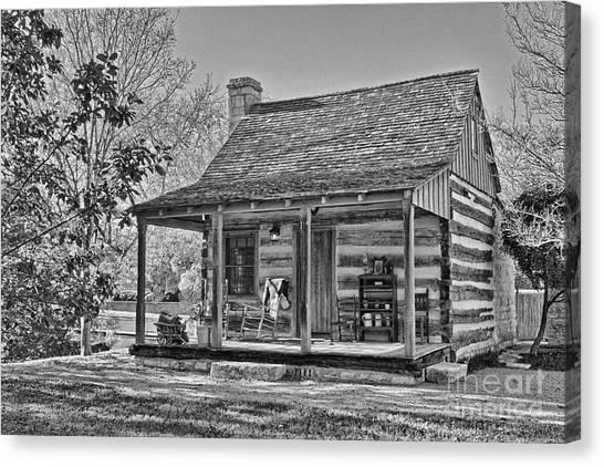 Town Creek Log Cabin In Fall_2 Canvas Print