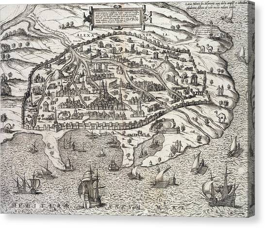 Border Wall Canvas Print - Town Map Of Alexandria In Egypt by Unknown
