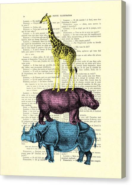 Musician Canvas Print - Safari Animals Town Musicians Of Bremen Parody by Madame Memento