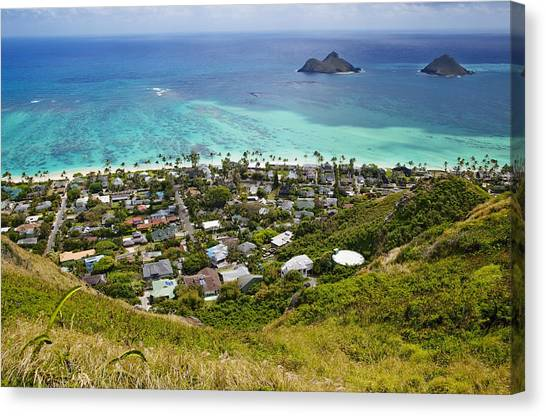 Town Of Kailua With Mokulua Islands Canvas Print by Inti St. Clair