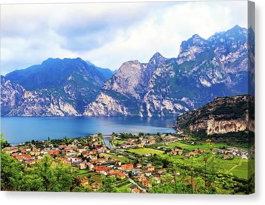 Calm Down Canvas Print - Town Of Riva Del Garda In Northern Italy by Susan Schmitz