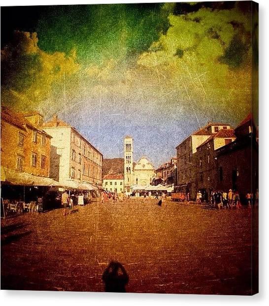 Edit Canvas Print - Town Square #edit - #hvar, #croatia by Alan Khalfin