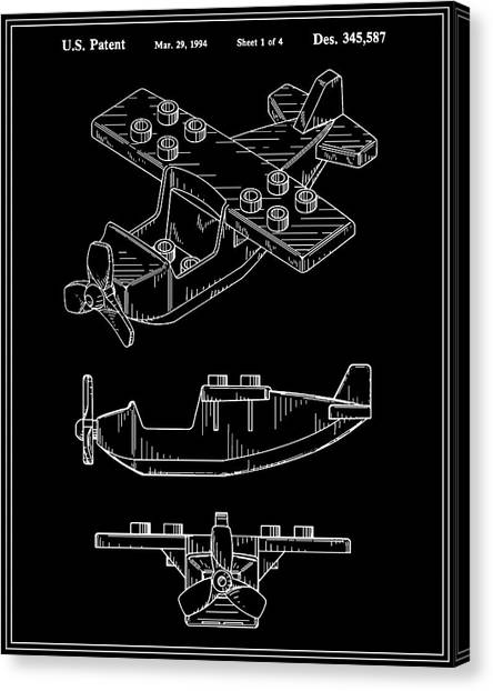 Toy Airplanes Canvas Print - Toy Airplane Patent - Black by Finlay McNevin