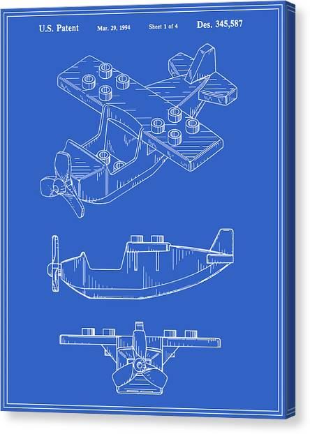 Toy Airplanes Canvas Print - Toy Airplane Patent - Blueprint by Finlay McNevin