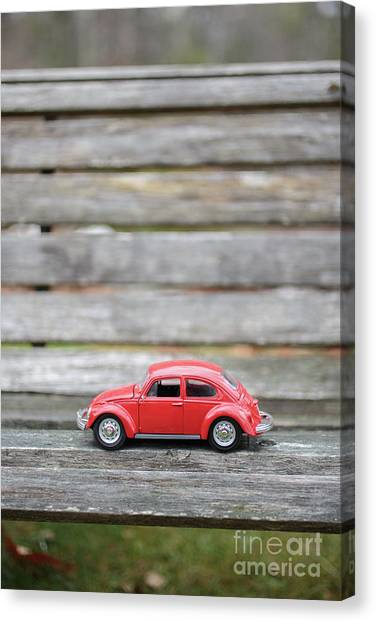 Little Things Canvas Print - Toy Car On A Bench by Edward Fielding