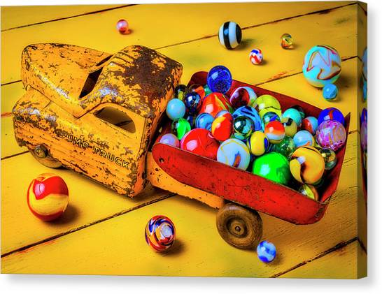 Dump Trucks Canvas Print - Toy Dump Truck With Marbles by Garry Gay