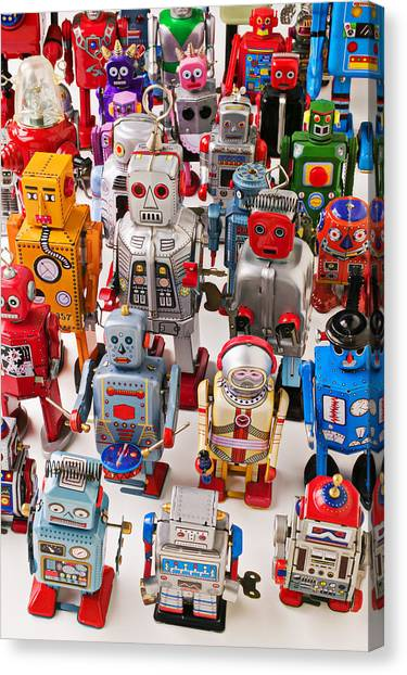 Droid Canvas Print - Toy Robots by Garry Gay