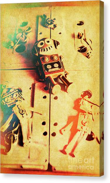 Headphones Canvas Print - Toy Robots On Vintage Cassettes by Jorgo Photography - Wall Art Gallery