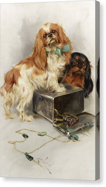 Purebred Canvas Print - Toy Spaniels by Arthur Wardle