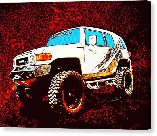 Toyota Fj Cruiser 4x4 Cartoon Panel From Vivachas Canvas Print