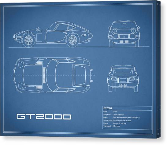 Toyota Canvas Print - Toyota Gt2000 Blueprint by Mark Rogan