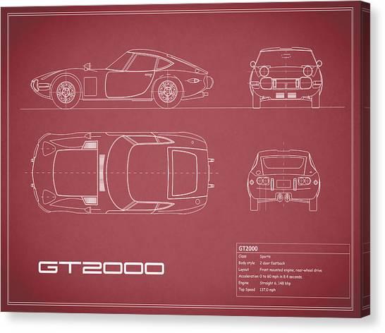 Toyota Canvas Print - Toyota Gt2000 Blueprint Red by Mark Rogan