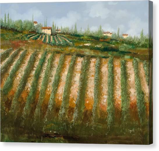 Vineyard Canvas Print - Tra I Filari Nella Vigna by Guido Borelli