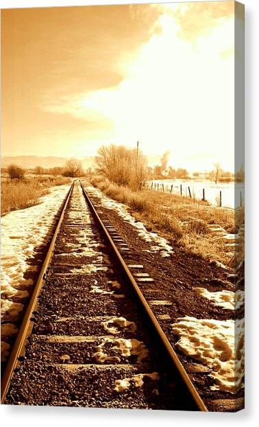 Railroads Canvas Print - Tracks by Caroline Clark
