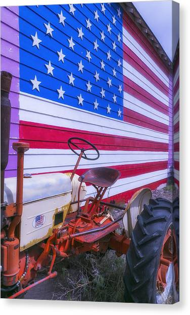 United States Of America Canvas Print - Tractor And Large Flag by Garry Gay