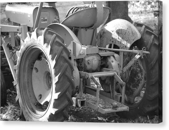 Tractor In Black And White  Canvas Print by Peter  McIntosh