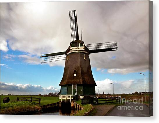 Traditional Dutch Windmill Near Volendam  Canvas Print