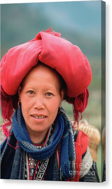Traditional Fashion Of A Red Dzao Woman Canvas Print
