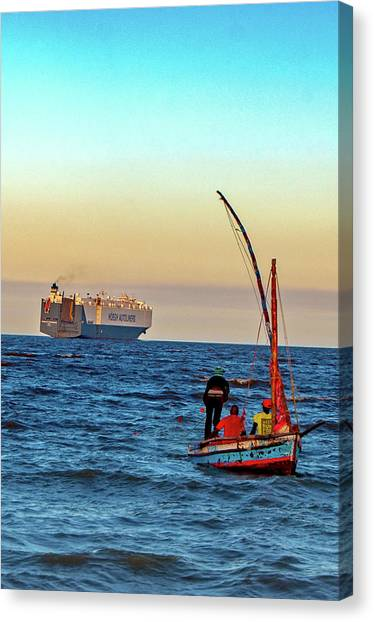 Traditional Fishing And The Container Ship Canvas Print