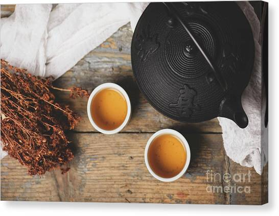 Tea Leaves Canvas Print - Traditional Japanese Tea by Jelena Jovanovic