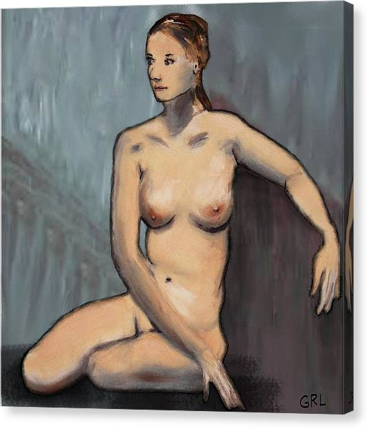 Traditional Modern Female Nude Seated Canvas Print