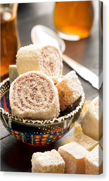 Sweet Tea Canvas Print - Traditional Turkish Sweets by Vadim Goodwill