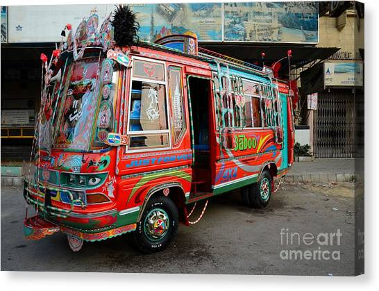 Traditionally Decorated Pakistani Bus Art Karachi Pakistan Canvas Print