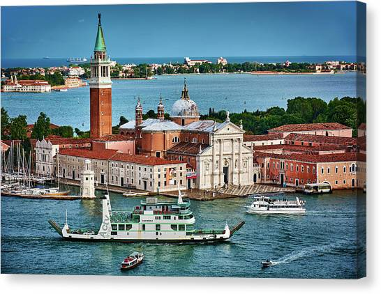 Traffic Around The Venetian Church Canvas Print