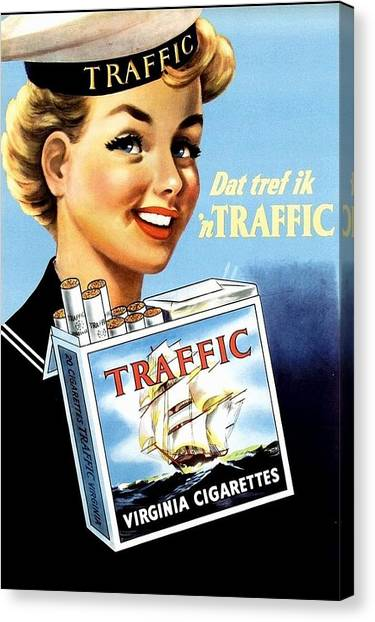 Canvas Print featuring the digital art Traffic Cigarette by Reinvintaged