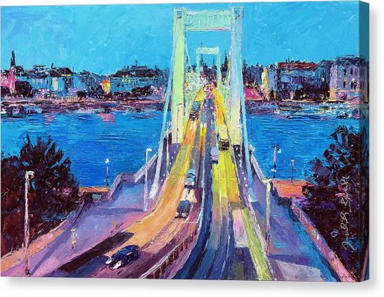 Traffic On Elisabeth Bridge At Dusk Canvas Print